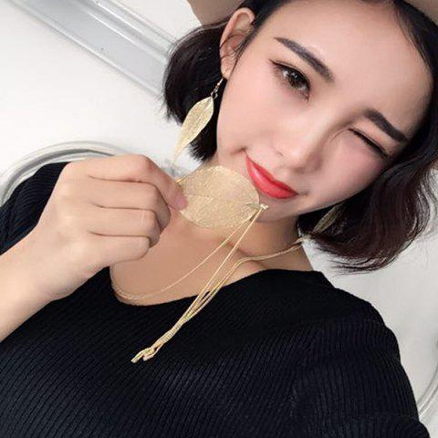 Online Gold Plated Leaf Sweater Chain - GOLDEN  Mobile