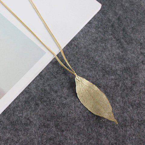Store Gold Plated Leaf Sweater Chain - GOLDEN  Mobile