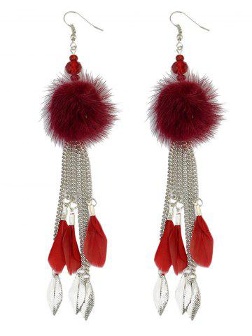 Affordable Fuzzy Ball Feather Drop Earrings