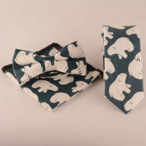 Ours Cartoon Imprimer Tie Bowtie Mouchoir Set