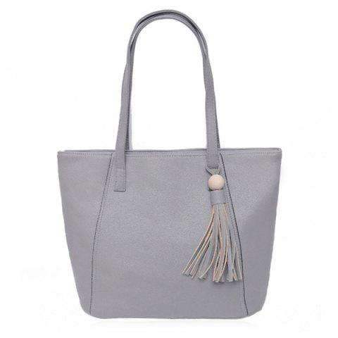 New Tassel Faux Leather Shoulder Bag GRAY