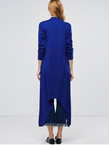 Discount Longline Collarless Maxi Duster Coat - XL BLUE Mobile