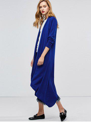 Online Longline Collarless Maxi Duster Coat - XL BLUE Mobile