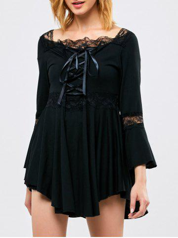Asymmetrical Bell Sleeve Smock Blouse - Black - L