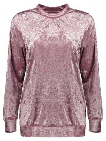 Buy Mock Neck Velvet Sweatshirt - XL DEEP PINK Mobile