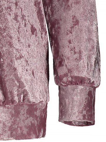 Latest Mock Neck Velvet Sweatshirt - XL DEEP PINK Mobile