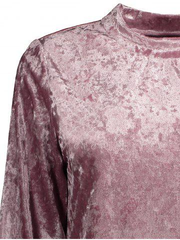 Fashion Mock Neck Velvet Sweatshirt - XL DEEP PINK Mobile