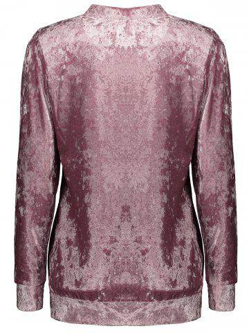 Hot Mock Neck Velvet Sweatshirt - XL DEEP PINK Mobile