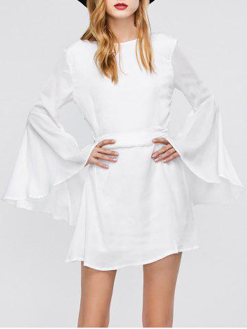 Best Flare Long Sleeve Backless Short Graduation Dress WHITE M