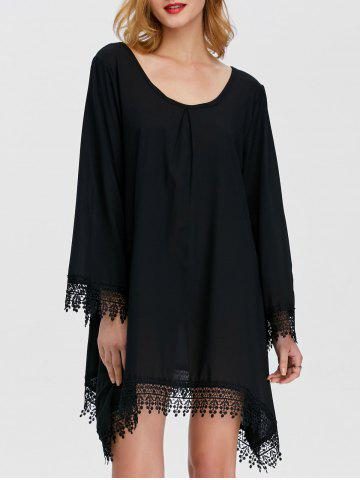 Fancy Loose Lace Insert Asymmetrical Dress With Sleeves BLACK XL