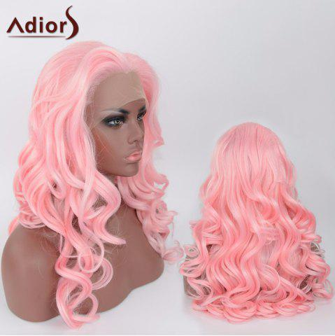 Unique Adiors Long Body Wave Side Parting Synthetic Lace Front Wig - SHALLOW PINK  Mobile