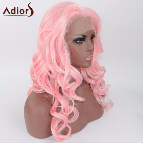 Fashion Adiors Long Body Wave Side Parting Synthetic Lace Front Wig - SHALLOW PINK  Mobile
