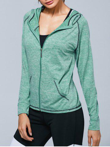 Zip Up Heathered Hooded Active Jacket