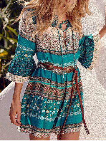 Boho Lace-Up Print Mini Dress - GREEN M