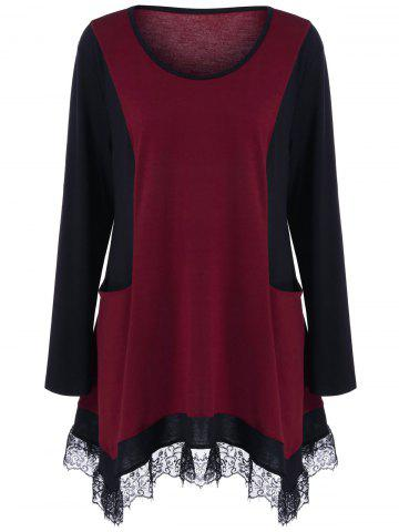 Plus Size Lace Panel Tunic T-Shirt - Black And Red - Xl