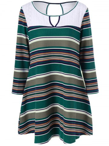 Plus Size Keyhole Striped Longline T-Shirt - Colormix - 4xl