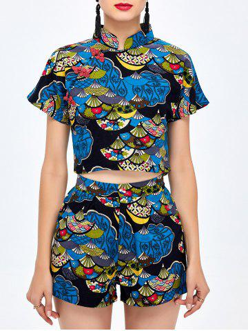 Shops Print Shorts with Qipao Crop Top BLUE ONE SIZE