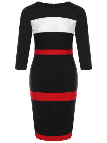 Color Block Fitted Sheath Dress - Black - 2xl