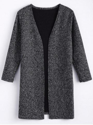 Chic Plus Size Open Front Tweed Coat - 5XL BLACK GREY Mobile