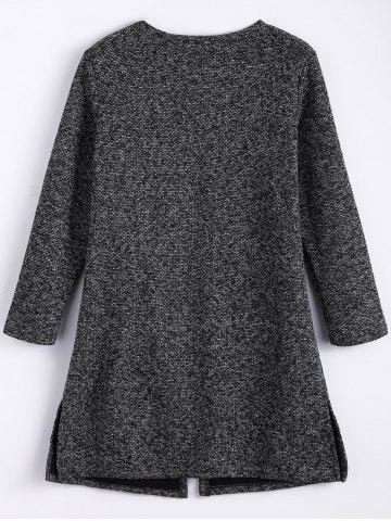 Outfits Plus Size Open Front Tweed Coat - 4XL BLACK GREY Mobile