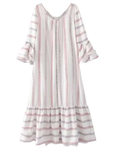 Outfits A Line Flare Sleeve Striped Maxi Dress WHITE M