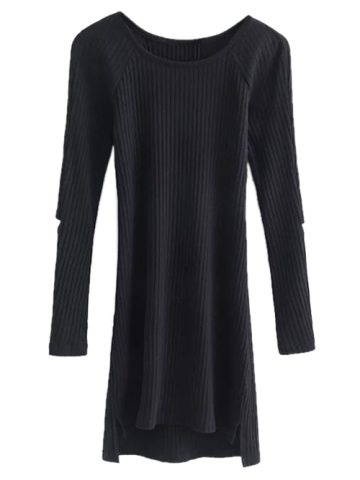 Cut Out Ribbed Long Sleeve Dress