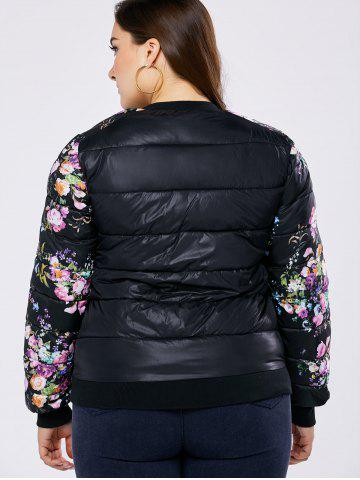 Chic Plus Size Floral Quilted Coat - 2XL BLACK Mobile