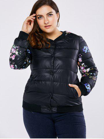Cheap Plus Size Floral Quilted Coat - 2XL BLACK Mobile