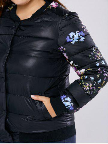 Affordable Plus Size Floral Quilted Coat - XL BLACK Mobile