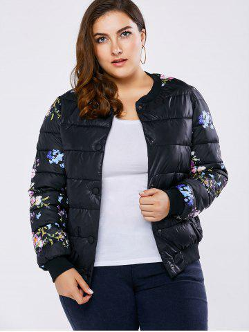 Chic Plus Size Floral Quilted Coat - XL BLACK Mobile