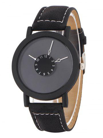 Faux Leather Band Analog Watch - Black
