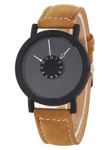 Online Faux Leather Band Analog Watch BROWN