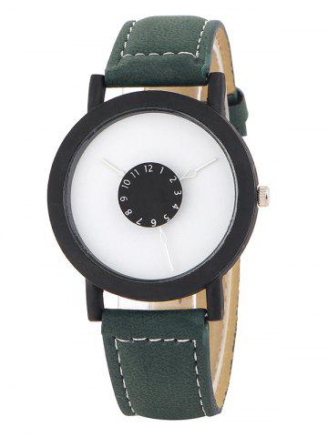 Store Faux Leather Band Analog Quartz Watch GREEN