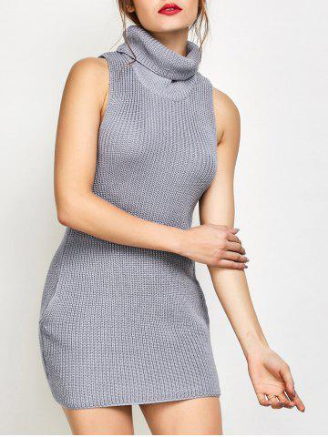 New Roll Neck Tank Fitted Sweater Dress GRAY S