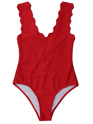 Shop V Neck Scalloped One Piece Bathing Suit DEEP RED L