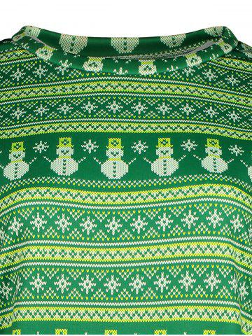 Outfit Snowman Pattern Sweatshirt - L GREEN Mobile