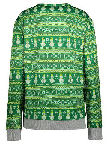 Cheap Snowman Pattern Sweatshirt - L GREEN Mobile