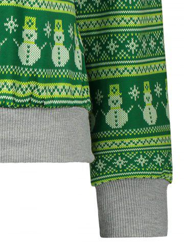 Chic Snowman Pattern Sweatshirt - L GREEN Mobile