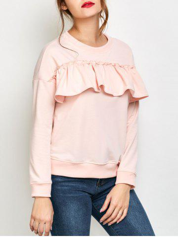 Online Jewel Neck Ruffles Sweatshirt - M PINK Mobile