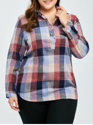 Plus Size Asymmetric Gingham Plaid Pocket Shirt