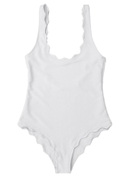Low Back Scalloped One Piece Bathing Suit - WHITE M