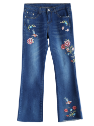 Flower Embroidered Jeans - DENIM BLUE