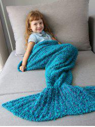 Home Decor Crochet Knitted Imitation Shearling Mermaid Blanket Throw For Kids - OASIS