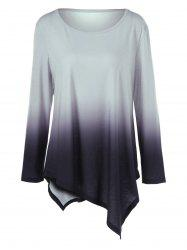 Plus Size Ombre Asymmetrical T-Shirt