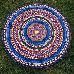 Round Beach Throw with Multicolor Geometry Vortex Printed - COLORMIX