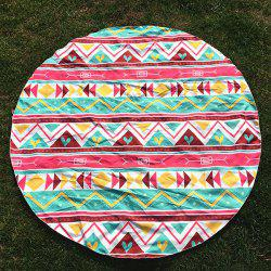 Round Beach Throw with Chevron and Heart Printed