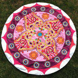 Round Beach Throw with Tribal Sun Totem Printed