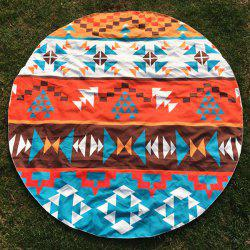 Round Beach Throw with Bohemian Geometry Printed - COLORMIX