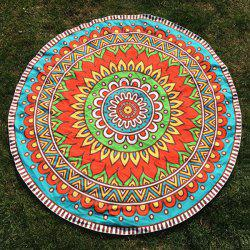 Round Beach Throw with Ethnic Flower Printed