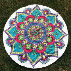 Round Beach Throw with Tribal Mandala Flower Printed - WHITE